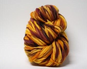 Thick and Thin Yarn Hand Spun Merino Bulky Self-striping Wool Slub  Hand Dyed tts(tm) U16002x