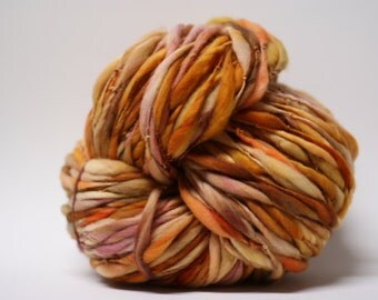 Thick and Thin Merino Handspun Wool Yarn Slub  tts(tm) Hand dyed Half-Pounder xLR 1505
