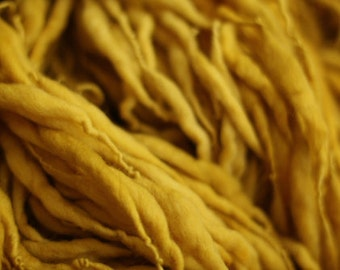 Thick and Thin Yarn Handspun Merino Wool Slub  tts(tm) Merino Hand dyed Two-Pounder Mustard Extra Super Bulky