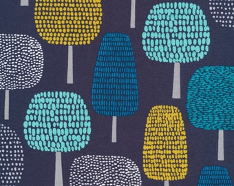 First Light Glade in Navy, Eloise Renouf, 100% GOTS-Certified Organic Cotton, Cloud9 Fabrics, 134412