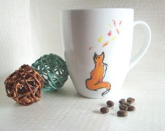 Autumn Fox Coffee Mug, Hand- Painted Fall Tea Mug, 12 oz