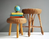 Vintage Rattan Stool or Plant Stand