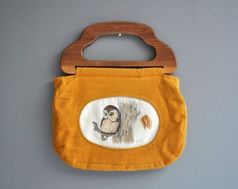 Vintage Hand-Painted Corduroy Owl Purse or Handbag