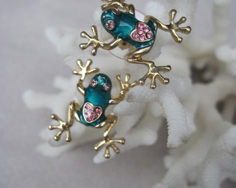 Teal Green Frogs with Pink Crystal Heart on Back Stud Earrings