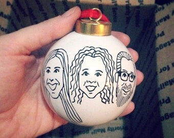 custom caricature ornament - (3) three hand drawn portraits - family christmas ornament - black and white ceramic ball