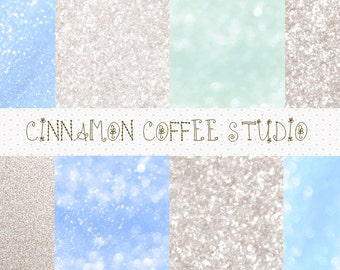 glitter digital papers, winter blue glitter papers, silver glitter backgrounds, blue and silver glitter, glitter backgrounds - set of 8