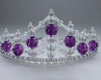 Magnificent Princess Purple Tiara, Birthday Tiara, Flower Girl Tiara