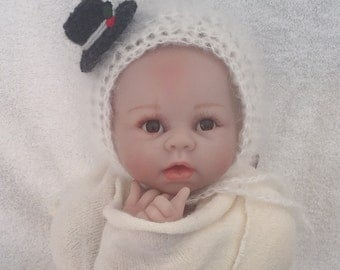 Fluffy christmas snowman bonnet, hat. Great photo photography prop. Choose size. Winter baby