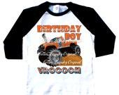 Monster Truck birthday raglan personalized with AGE birthday baseball raglan tee shirt Monster truck