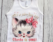 """Birthday tee shirt Vintage Inspired Childrens tshirt Birthday Personalized with AGE """"It's a purr-fect day"""" personalized with Name and Age"""