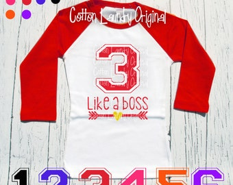 """Birthday tee """"3 like a boss"""" Turning three like a boss birthday shirt - Celebrating your child's 1/2 year, 6mo, 1st, 2nd, 3rd or beyond"""