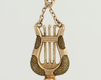 Victorian Mourning Hair Jewelry Antique Charm Harp Lyre Music Keepsake 10k Gold L8152