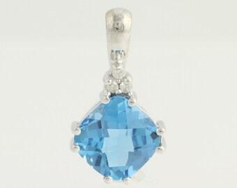Blue Topaz & Diamond Pendant - 14k White Gold 2.73ctw N1103
