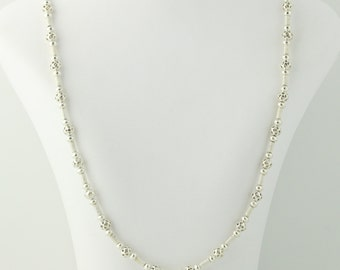 "Beaded Sterling Silver Necklace 35 1/2"" - Sterling Silver Textured Women's Q5404"