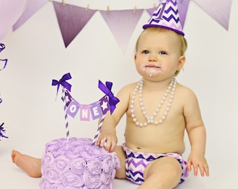 Baby Girl / Toddler First Birthday Cake Smash Outfit With Diaper Cover Party Hat & Necklace in Purple Chevron