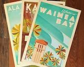 Oahu Beach Parks  - 12x18 Retro Hawaii Print Series