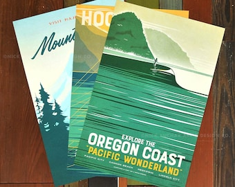 Outdoor Oregon Series  - 12x18 Retro Travel Prints