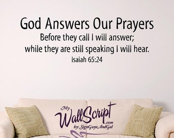 Bible verse wall art, God Answers Our Prayers, Wall Graphic