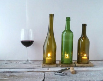 Candle Holders/Covers Set of 3 Wine Bottle