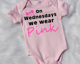 Baby one piece.Singlet, body suit.With snap clip fastenings.one piece.Neon pink.Black.Baby girl gift. On Wednesdays we wear pink.Pink girl