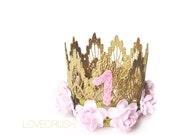 Birthday crown || flower MINI lace crown headband||Sienna ||customize ANY AGE