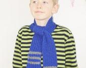 Blue Scarf - Children's scarf - Boys Scarf - Children's knitted scarf -Boy's Blue scarf