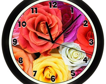 Roses Wall Clock Flowers 10 Inch Reds and Pinks
