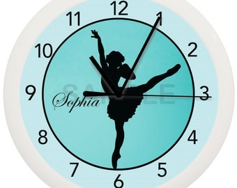 Turquoise Blue Ballerina Personalized WALL CLOCK