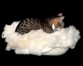 Cat Bed Felted Wool Fleece Cat Basket - Polypay Lamb - Kat's Cradle - Supporting Small US Farms - Ready to Ship