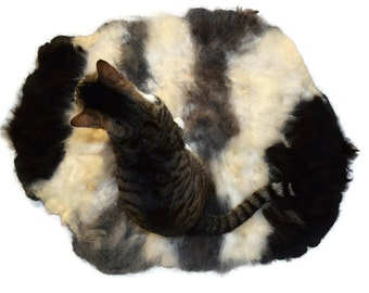 Alpaca Cat Bed Cruelty Free Rustic Primitive Felted Fleece Rug - MultiPaca - White Black Gray - Supporting Small US Farms