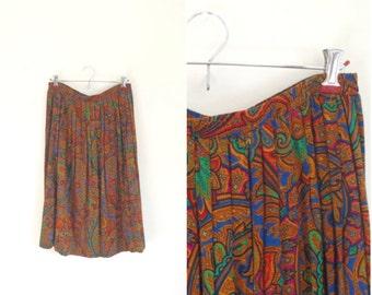 Vintage brown paisley pleated skirt / accordion pleat boho skirt