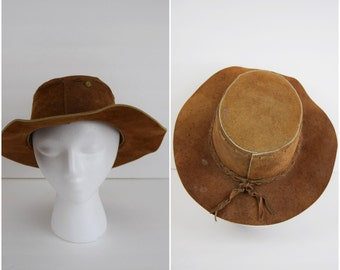 Vintage southwestern brown suede leather panama hat / braided detail Mexican leather fedora