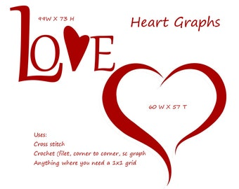 2 Love Heart Graphs for Crochet, Cross Stitch, Plastic Canvas, Filet, Corner to Corner, SC, Bead Weaving Valentine's Hearts