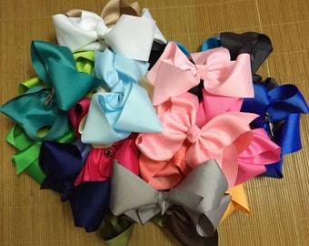 "Set of 10 - 8"" large girl bows - girl hair bows - extra big bows, bows for girl, big bows, 8 inches school bows, 30 colors to pick"