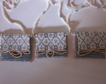 Three Hand Beaded Neck Purses