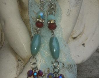 Baroque Princess Turquoise Porcelain glass beaded earrings. Red Swarovski Garnets aspirin crystals. Dangle earring. Vintage beads