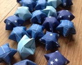 Blue Sky Origami Star Mix, set of 24 Origami Stars, Table Scatter.