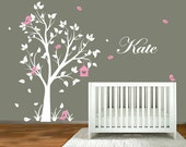 Large Tree Wall Decal for Nursery with Name & Birds in 59 Colors
