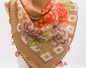 Turkish oya scarf , Yazma scarf , head scarf ,gift idea ,Hijab scarf,summer scarf