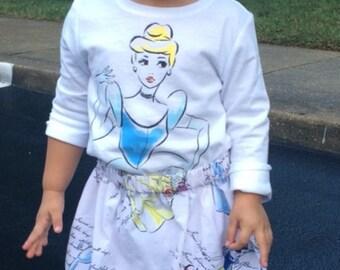 Cinderella, Belle and Snow White  Princess   Skirt (sizes 18 mos  - 8)