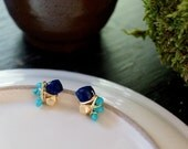 Lapis lazuli and turquoise cluster post earrings