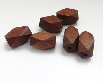 Brown wooden beads, geometric brown beads wood beads, W 70 044