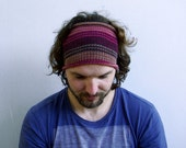 Knitted Mens Headband Guys knit hair wrap - burgundy brown Unisex Adults Dread band