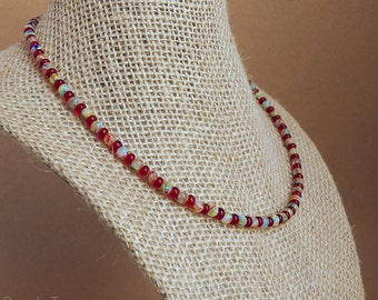 Beaded Glass Necklace, Seed Bead Necklace, Beaded Necklace, Red, Yellow, Orange, Green