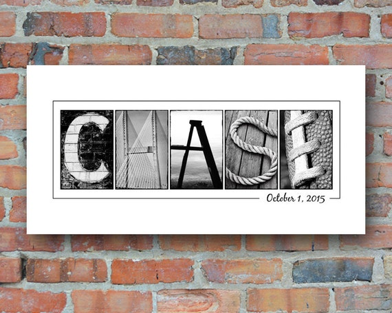 Baby Name Print in Alphabet Photography - Name Print Unframed, new baby gift, nursery decor