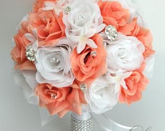 "17 Piece Package Wedding Bridal Bouquet Silk Flowers Bouquets Artificial Bride CORAL WHITE JEWELS Faux Diamonds ""Lily of Angeles"" COWT01"