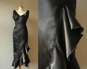sexy black satin low cut WIGGLE DRESS size xs HOURGLASS mermaid pinup 1950s vintage style