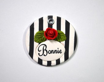 Round or Heart-shaped Black and White Striped Dog Tag / Pet Tag