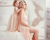 Blush Mommy jersey gown or mommy  and daughter set/jersey maternity gown/chiffon girl gown with lining