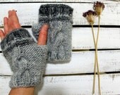 Hand knit with a soft Acrylic Yarn/ Halloween/ Winter  Collection. Fingerless gloves. St. Patricks day. Mothers Day Gift